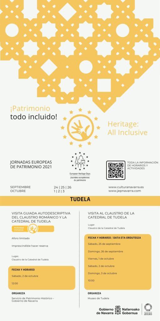 Cartel de las jornadas de patrimonio del año 2021 que contiene actividades del museo de Tudela: visitas guiadas al claustro y visita guiada audiodescriptiva.